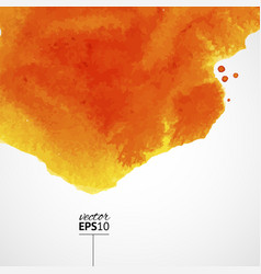 orange watercolor background with top splash vector image