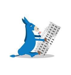 Democrat win white house flag blue donkey vector