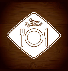 Menu restaurant with cutlery set vector