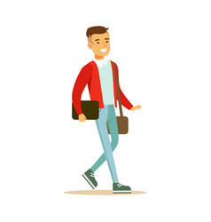 Young smiling man in a red jacket walking and vector