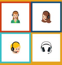 Flat icon telemarketing set of earphone call vector