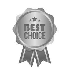 Best choice metal silver sign round label vector
