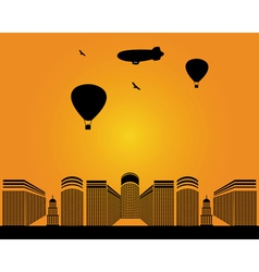 City buildings zeppelin vector