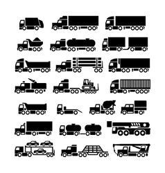 Set icons of trucks trailers and vehicles vector