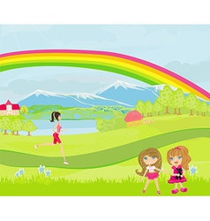 Spring day children playing woman running vector