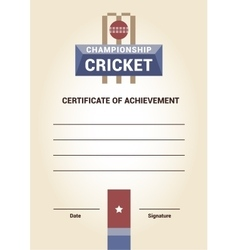 Template certificate diploma cricket vector