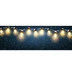 Christmas lights with snow vector