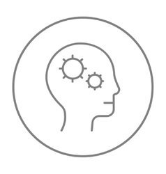 Human head with gear line icon vector