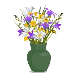 Flowers wild in vase vector