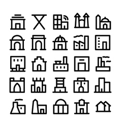 Buildings and furniture icons 4 vector