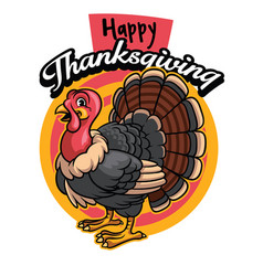 cartoon of turkey greeting happy thanksgiving vector image vector image