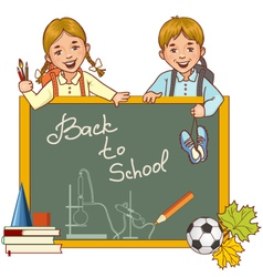 Cartoon schoolgirl and schoolboy at the blackboard vector image vector image