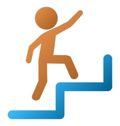 Child steps upstairs gradient icon vector