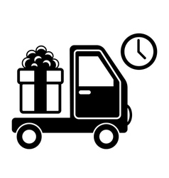 Christmas Shopping Delivery Car with Gift Box Flat vector image