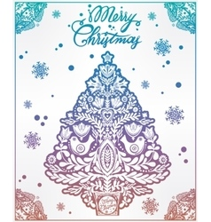 Christmas tree with holiday frame folk elements vector