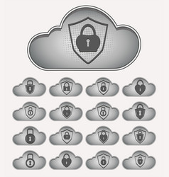computer cloud with lock set vector image