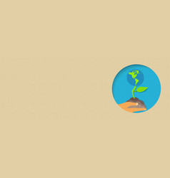 Earth day environment care paper cut banner vector