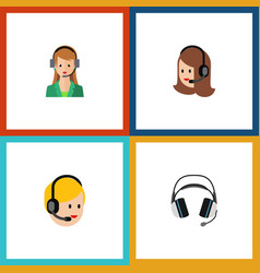 Flat icon telemarketing set of earphone call vector