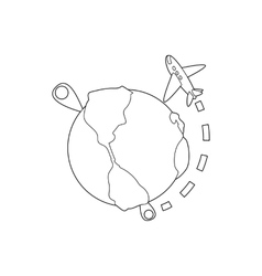 Flights around the world icon outline style vector image vector image
