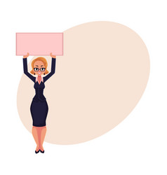 Girl woman businesswoman on strike holding empty vector