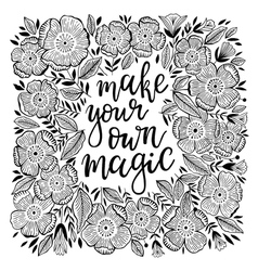 Hand-drawn lettering with flowers vector