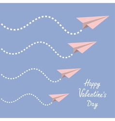 Happy Valentines Day Love card Four origami paper vector image vector image