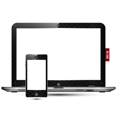 High detailed laptop and smart phone vector