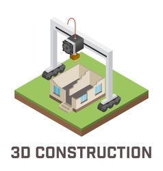 Industrial 3D printer prints a house concept vector image