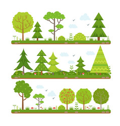 Landscape set with forest trees and other floral vector