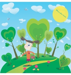 Little girl with flowers in fantasy world vector