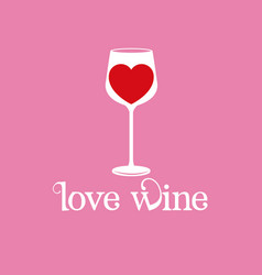 Love wine glassware heart image vector