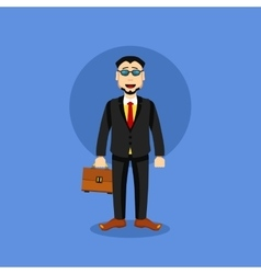 Man in business suit icon with case vector
