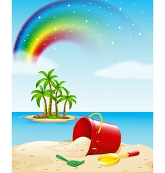 Ocean view with toys on the sand vector image