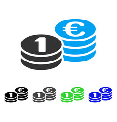 One euro coins flat icon vector