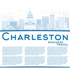 Outline Charleston Skyline with Blue Buildings vector image