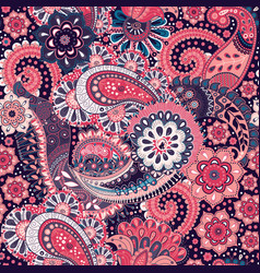 Paisley floral seamless pattern indian ornament vector