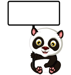 panda cartoon sitting with blank sign vector image
