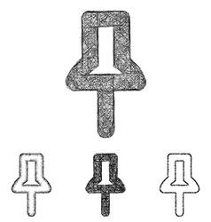 Pin icon set - sketch line art vector image vector image