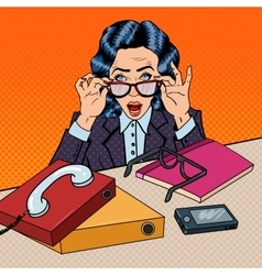 Pop art stressed business woman at the office work vector