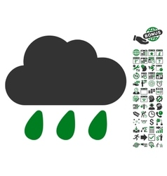 Rain Cloud Icon With Bonus vector image vector image