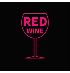 Red wine glass Black background vector image