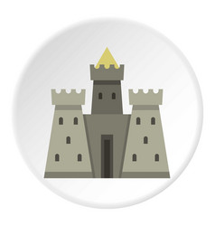 Residential mansion with towers icon circle vector