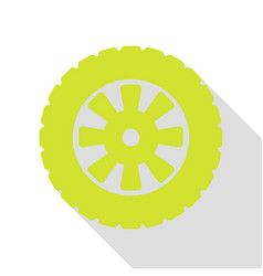 Road tire sign pear icon with flat style shadow vector