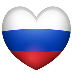 Russia flag in heart shape vector