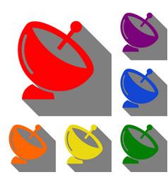 Satellite dish sign set of red orange yellow vector