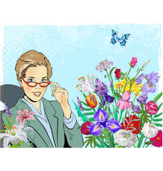 school teacher or business woman happy smiling vector image