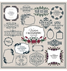 Set of floral vintage calligraphic frames and vector image vector image