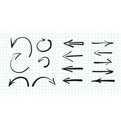 Set of hand-drawn arrow doodles vector image vector image