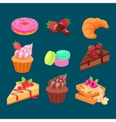 Set of sweet dessert vector image