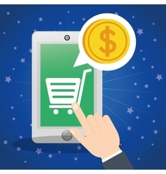 Shopping online smartphone cart coin digital vector